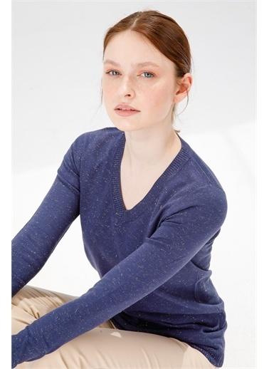 Desen Triko Kadın Sımlı Basıc V Yaka Bluz Kemık Lacivert